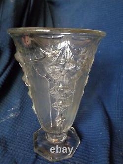 Vase Art Nouveau Art Deco En Verre Presse Moule Decor Fleur Vintage Daum Muller