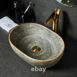 Vasque Lavabo de Salle de Bain Evier a Poser Art Deco 47cm x 33cm Ancien Vintage