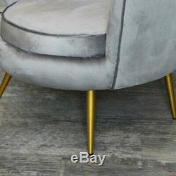 Velours Gris Coque Chaise Art Déco Vintage de Luxe Chambre Salle à Manger Accent