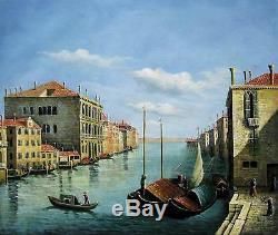 Venecia vintage 51 x 61cm estirado pintura al óleo lienzo arte Decoración m003