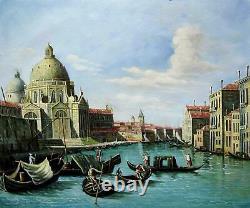 Venise vintage 50 x 60cm étiré peinture huile toile art décoration murale 004