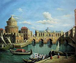 Venise vintage 51 x 61cm étiré peinture huile toile art décoration murale 002