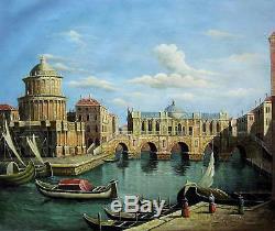 Venise vintage 51 x 61cm étiré peinture huile toile art décoration murale 004