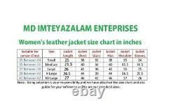 Veste Blazer Cuir Femmes Manteau S Motard Taille Extérieur Fauve Bouton US 21