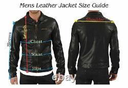 Veste Cuir Moto Motard Noir Hommes Manteau Vintage Blouson Peau D'Agneau Slim 1