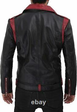 Veste Cuir S Hommes Motard Noir Manteau Slim Fit Peau D'Agneau Moto Harley B32 6