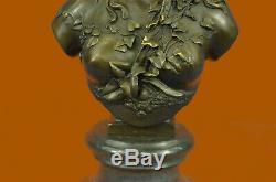 Victorien Maiden Buste Femelle Statue Style Art Nouveau Vintage Bronze Solde