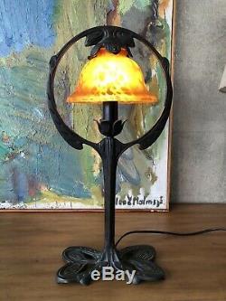 Vieux Lampe de Table Style Art Nouveau Gerstenberg Arts et Métiers Main Vintage