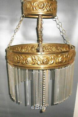 Vieux Lustre 4flamig Art Nouveau Plafonnier Lampe à Suspension Lustre Vintage