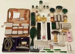 Vieux Valise en Cuir de Voyage Reisenecessaire Verre Flacons Art Nouveau Vintage