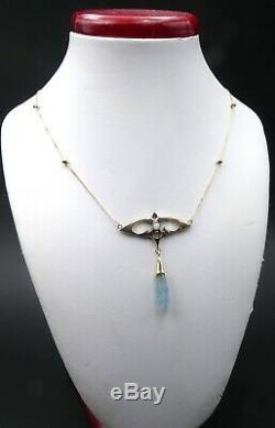 Vintage 14k Or Chaîne & Antique Art Nouveau W 10k Opale Aquamarine Pendentif Cou