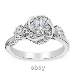 Vintage 14k or Blanc FN 1.93 CT Diamant Rond Art Déco Mariage Fiançailles Bague
