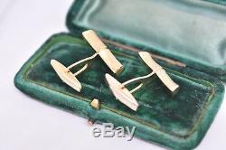 Vintage 18ct or Jaune Boutons avec Art Nouveau Bambou Motif 10.44g #G323