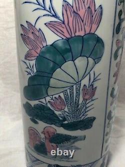 Vintage 20th Siècle Art Nouveau Style Poterie Floral Parapluie Support