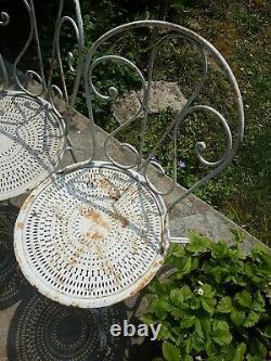 Vintage 3 chaises Jardin Fer Forge