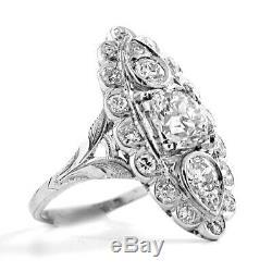 Vintage 9kt or Blanc Diamant Bague 3.1 Carats Art Déco Mariage Anneaux D/VVS1