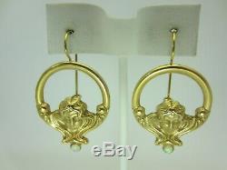 Vintage Ancien 14k or Jaune Opale Boucles D'Oreilles Art Nouveau