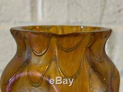Vintage Ancien Loetz Type Art Vase en Verre W / Métal Nouveau Style Montage