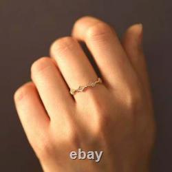 Vintage Art 14k Solide or Jaune avec Diamant Éternité Bague Pour Fiançailles