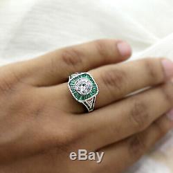 Vintage Art Déco 2.65 CT Diamant Vert Émeraude Fiançailles Bague 14k or Blanc