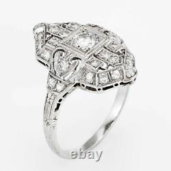 Vintage Art Déco Diamant Mariage Fiançailles Bague 14kt or Blanc Milgrain D /