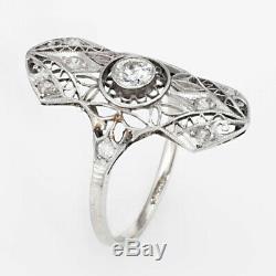 Vintage Art Déco Diamant Mariage Fiançailles Milgrain Bague 14kt White Gold D /