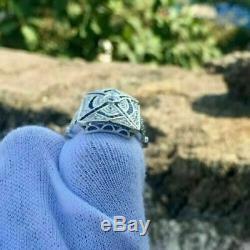Vintage Art Déco Fiançailles Bague 2.42Ct Anneau Mariage Diamant 14k or Blanc