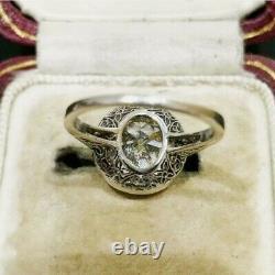 Vintage Art Déco Fiançailles Mariage Ancien Bague 14K or Blanc FN 2Ct Diamant