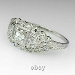 Vintage Art Déco Princesse Blanc Fiançailles Diamant Bague en Blanc or Finition