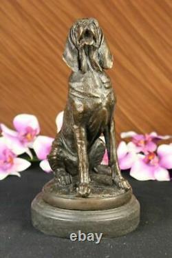 Vintage Art Déco Solide Fonte Bronze Chien / de Chasse Figurine Marbre