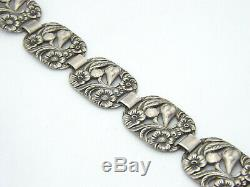 Vintage Art Nouveau Argent Sterling Floral Panneau Bracelet Lien, 23.0g