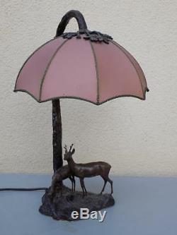 Vintage Art Nouveau Bronze Lampe Chasse Cerf Chevreuil Écran Rare 20. JHD