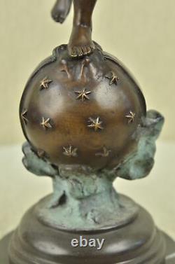 Vintage Art Nouveau Figuratifs Bronze Angelot Cupidon Statue 24 Sculpture