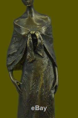 Vintage Art Nouveau Français Victorien Bronze Femme Sculpture Parlor Statue Home