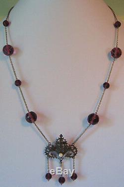 Vintage Art Nouveau Revival Violet à Facettes Perles de Verre Véritable Collier