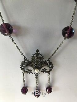 Vintage Art Nouveau Revival Violet à Facettes Verre Perles Véritable Collier