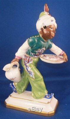 Vintage Art Nouveau Schwarzburger Werkstatten Porcelaine Blackmoor Figurine