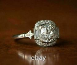 Vintage Art Unique Edouardien Fiançailles Bague 3 CT Coussin Diamant Argentés