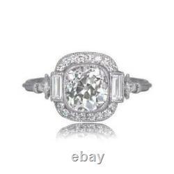 Vintage Art Unique Edouardien Fiançailles Bague 3 CT Coussin Diamant Silver