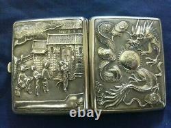 Vintage Bel Étui à Cigarettes argent Chine Décor gravure Dragon Pagode