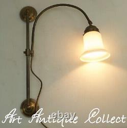 Vintage Bibliothèque Mur Lampe Dans Art Nouveau Laiton Cuivre Library Bougeoir