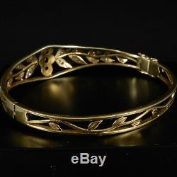 Vintage Bracelet avec 37 Altschliff Diamants Art Nouveau 14 Carats or Jaune
