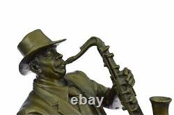Vintage Bronze Saxophone Lecteur Sculpture Original, Populaire Art, Décoratifs