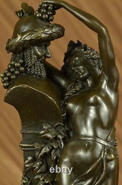 Vintage Bronze Statue / Sculpture De Satyre Avec Nymphe Art Déco Érotique Lrg