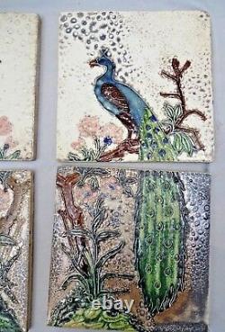 Vintage Carreaux Paon Sur Tree Art Nouveau Céramique Gwalior Vers 1930 Rare #309