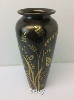 Vintage D'Occasion Art Nouveau Argent Écusson Sha Co Décoré Bronze 41088 Fleurs