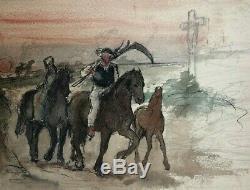 Vintage Drawing Dessin Ancien Man, Horse, Farmer