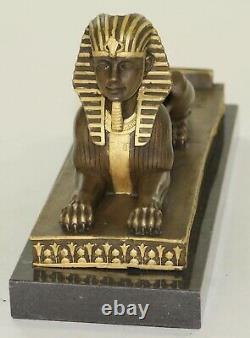 Vintage Européen Finery Art Déco Égyptien Revival Bronze Sphinx Serre-Livre Lrg