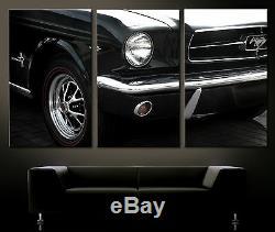 Vintage Façades Détails Ford Mustang Image de Toile Art Abstrait Noir Blanc XXL