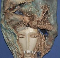 Vintage Fait À La Main En Céramique Mural Suspendu Travail D'art Sculpture